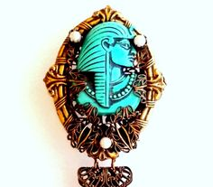 Selro Egyptian brooch with dangles aqua blue by popgoesmyvintage