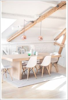 Interior – dining area Copper pendants Eames RAR light bright and airy Dining Room Inspiration, Interior Inspiration, Inspiration Boards, Interior Decorating, Interior Design, Decorating Ideas, Eames Chairs, Eames Dining, Room Chairs
