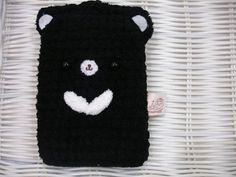 Marshmallow animal cell phone pocket - the Formosan black bear