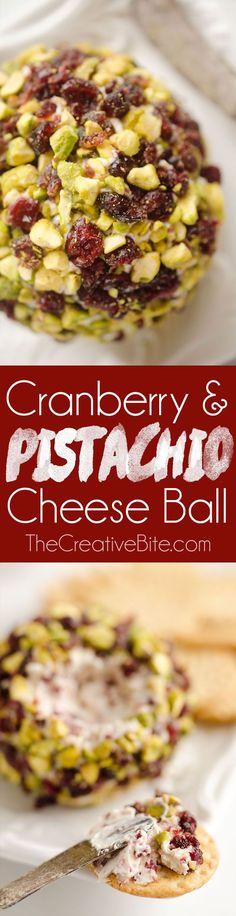Cranberry Pistachio Cheese Ball is an easy and festive red and green appetizer fantastic for the holidays with only five ingredients! A cream cheese, cranberry and orange mixture is rolled in salty pistachios and served with your favorite crackers for the perfect party food.