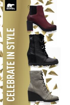 Complete your holiday look with celebration-ready heels and wedges. Luxurious leathers and bold hardware gives these boots a serious style upgrade. Dress up your winter with SOREL. Crazy Shoes, Me Too Shoes, Stylish Boots, All About Shoes, Cute Boots, Sock Shoes, Shoe Collection, Swagg, Leather Boots