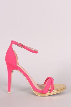 Qupid Nubuck Crisscross Ankle Strap Heel