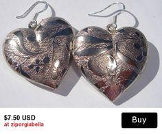 large etched print metal heart charm pierced dangle earrings