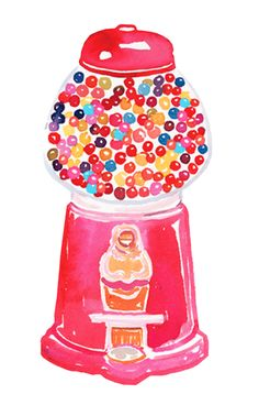 Watercolor gumball dispenser painting! How cute!