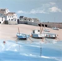 In the Harbour - by Cornish artist Judi Trevorrow. A watercolour print depicting St Ives harbour. Available to buy from Cornwall Art Galleries as a canvas or framed print, prices start at Seaside Art, Seaside Theme, Coastal Art, Watercolor Landscape, Watercolor And Ink, St Ives Cornwall, Fishing Villages, Art For Art Sake, Beach Pictures