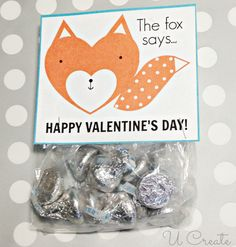 What Does a Fox Say ? free printable Valentine! Use as a bag topper, tag, stick on a conversation heart box, etc.!