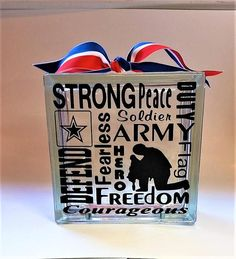 Army Decal GlassBlock Lettering Subwat art.