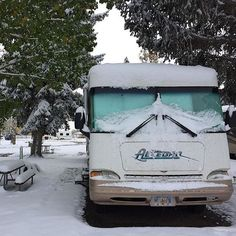 @his_hers_alaska's rig covered in #snow at #bozemanhotsprings in #montana. ☃ #rvlife #rvgems #homeiswhereyouparkit #rvliving #wanderlust #camp #fulltimerv #camplife #camping #travel #outdoors #nature #travelusa #wandering #campvibes #nomad #roadtrip #motorhome #gorving #gypsy