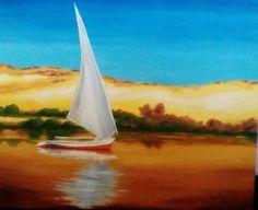Felouque sur le Nil. Peinture à l'huile, Christine Monsion