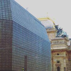 Entering the void #prague #praha #architecture #theatre #classic #modern #brut #brutalism #art #gold #novascena #empire #column #statue #fire by missionpizza