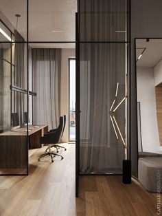 The main objective of the Ok Loft was to unite three separate apartments into a single functional space. The loft style was taken as a basis. Home Office Design, Home Office Decor, House Design, Home Decor, Office Ideas, Spacious Living Room, Living Room Grey, Loft Interiors, Loft Style