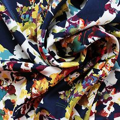 Polyester crepe de chine. Gorgeous medium weight drapey fabric with lovelycolour saturation, 140cm wide.Sold per half metre. To purchase 1 metre, enter 2 in t