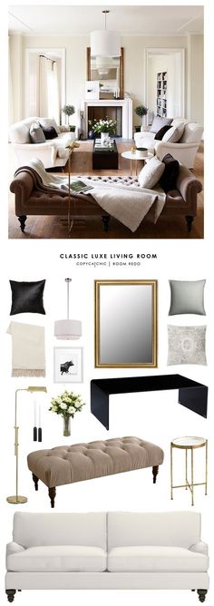 TOTAL | $2,456 SOFA $936 | BENCH $309 | COFFEE TABLE $392 | PENDANT $131 | MIRROR $257 | FLOOR LAMP $100 | SIDE TABLE $60 | THROW $39 | ART $68 | CANDLESTICKS (EA) $7 | BLACK PILLOWS (EA) $10 | PATT