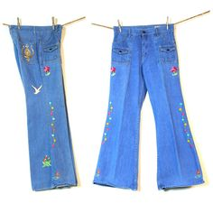 Embroidered Bellbottom Jeans / Vintage 1960s Customized One of a Kind Bell Bottoms / OOAK / RARE