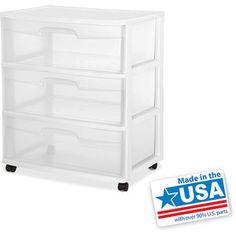 "Sterilite 3-Drawer Wide Cart $17.44 EACH @ Walmart.com - Dimensions: 15.25""L x 21.75""W x 24""H"