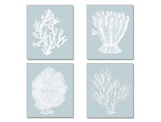 Blue Gray Blue Wall Art Coral Print Silvery by BeachHouseGallery, $39.99