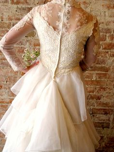 Vintage 1960s Lace Tiered Wedding Dress by stateandmainvintage, $450.00