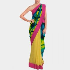 Neon yellow clamp dyed georgette saree #india #design #designer