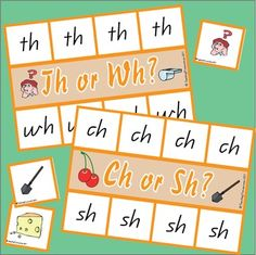This product can either be used as a game for 2 players or as an individual activity to use during literacy time. Players take it in turn to match the picture to the digraphs on their card. Use as an individual activity and have the player use a clothes peg or paper clip to attach each picture to the correct side of the card. Digraphs included are ch, sh, th and wh.
