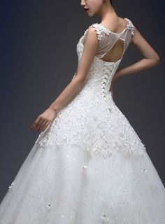 Ball Gown Jewel Floor-length Lace And Tulle Wedding Dress
