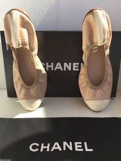 6b37b7932ea Chanel Beige Cc Logo Leather Ballerina Stretch Ballet Flats Size US 7  Regular (M