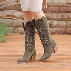 Akranes Süet Haki Renkli Diz Altı Western Topuklu Çizme   #green #white #heels #longboots #boots #western #suede #yeşil #haki #topuklu #çizme #kovboy #süet Western Boots, Cowboy Boots, Frock Coat, Long Boots, Clint Eastwood, Suede Heels, Bohemian Decor, American, Decor Ideas