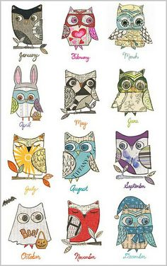 """How cute is this """"owl a month"""" calendar? I love the owl disguised as a bunny… Owl Always Love You, Owl Crafts, Owl Art, Cute Owl, Illustrations, Owl Illustration, Art Plastique, Zentangle, Painted Rocks"""