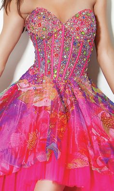 multi colored prom dresses | Multi Colored Corset High-Low Dress , evening dresses petite sizes