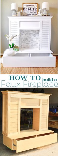Faux Fireplace with shiplap and faux brick coated in limewash and chalk paint perfect for the home living room.