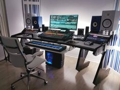 Trendy Home Studio Music Desk Offices Ideas Studio Desk Music, Home Recording Studio Setup, Music Desk, Home Studio Setup, Studio Table, Music Music, Audio Studio, Studio Ideas, Sound Studio