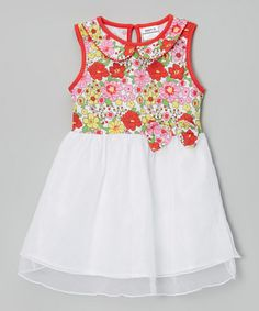 Love this Pink & White Floral Dress $11.99- Infant, Toddler & Girls by Nova on #zulily! #zulilyfinds
