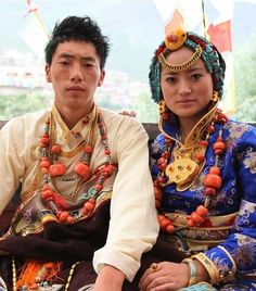 Tibetan Bride and Groom from Pelyul  dressed in traditional ceremonial costumes