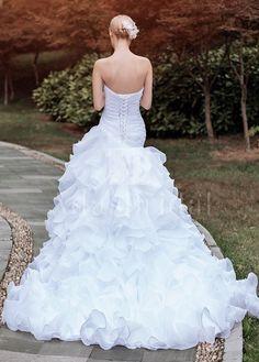 [159.23] Glamorous Organza Sweetheart Neckline Ruffled A-line Wedding Dresses - adasbridal.com