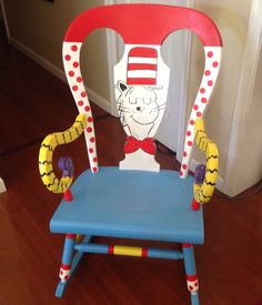 Cat In The Hat Seuss Rocking Chair I Painted For A Teacher Her Pre