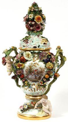 "Meissen Porcelain Manufactory (Germany) — Covered Urn,  H:26"", c.1900    (600x1075)"