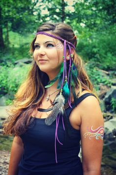 hippie, bohemian, festival, gypsy: Neon Nights Festival Hippie headband by Echoing Waters.  via Etsy.