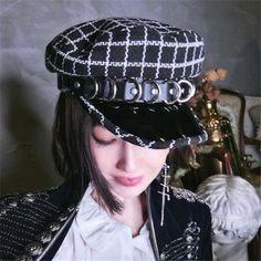 Black and white plaid baker boy hat womens metal ring greek fisherman hat  winter wear c603411b8