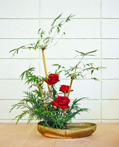 Red Roses and Japanese Maple Leaves, Ikebana Floral Arrangement.  BGou_1_21_2011