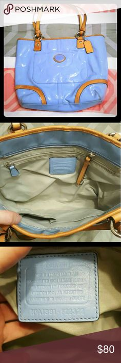 Powder blue and tan coach purse Some color transfer on the back from my jeans otherwise perfect condition Victoria's Secret Bags Shoulder Bags