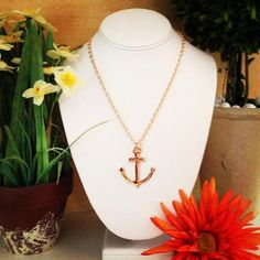 Anchor's Away Necklace ~ Gold, $14.00