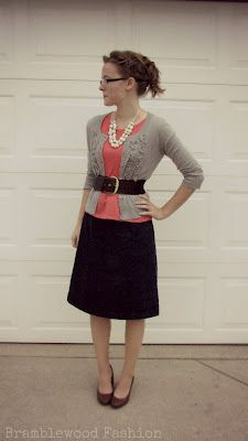 cute cardi with wide belt, pop of color