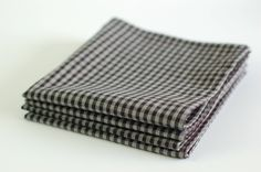 "Organic Cotton Table Napkins 12"" square Set of 4 / Everyday Napkins / Small Napkins / Gray & Black Check by SUZUYA on Etsy"
