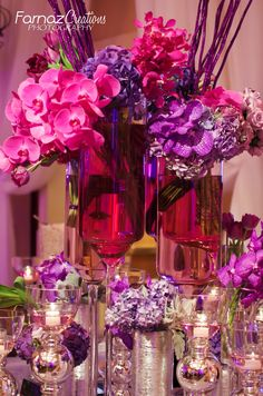 Beautiful Wedding Reception Center Pieces replace the pink with blue