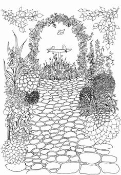 Www Doverpublications Com Coloring Books Beautiful 25 Whimsical Garden Coloring Pages Landscapes and Dover Coloring Pages, Garden Coloring Pages, Adult Coloring Book Pages, Coloring Book Art, Doodle Coloring, Printable Coloring Pages, Coloring Sheets, Zentangle, Colorful Garden