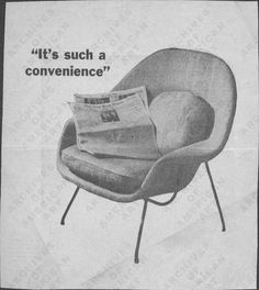 for the chair freak: me: Miscellaneous Personal Papers: Drawings of Furniture Designs, Eero Saarinen, Archives of American Art (Womb Chair shown) Furniture Ads, Funky Furniture, Furniture Projects, Vintage Furniture, Furniture Design, Archives Of American Art, Womb Chair, Interior Design Elements, Vintage Interiors