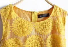 Yellow Sleeveless Sunflower Embroidery Bilayer Dress -SheIn(Sheinside)