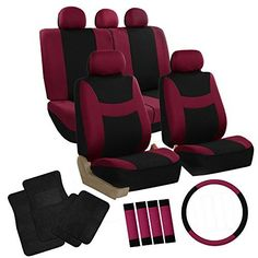 FH-FB030115 Light & Breezy Burgundy/Black Cloth Seat Cover Set Airbag & Split Ready with Steering Wheel Cover, Seat Belt Pads and Floor Mats- Fit Most Car, Truck, Suv, or Van, http://www.amazon.com/dp/B018GV1RZ6/ref=cm_sw_r_pi_awdm_fauNwb0HWZ78Z