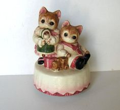 Vintage draaiende muziekdoos, porcelian kittens, Collectible, kwekerij Decor…