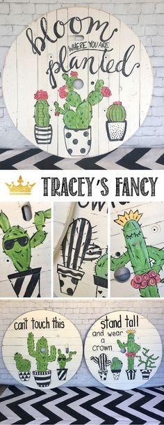 Crazy About Cactus Cable Spool Kunst von Traceys Fancy - Repurposed Cable Spoo . Crazy About Cactus Cable Spool Kunst von Tracey Fancy - Repurposed Kabelspule - DIY-Kunst-Ideen - DIY Kindergarten-Kunst-Kaktus-Dekor - handgemalte Sc. Diy Wall Art, Nursery Wall Art, Diy Art, Nursery Decor, Funky Decor, Cactus Painting, Painting Art, Paintings, Cactus Decor