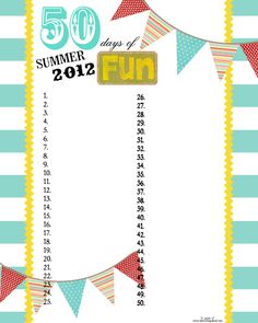 Summer fun chart to customize for your family. Website has great ideas!